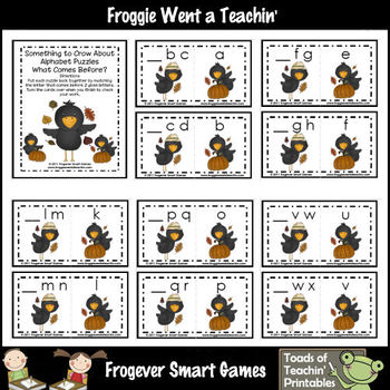 Alphabet-- Something to Crow About (What Comes Before? Alphabet Puzzles)