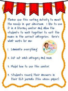 Literacy Center - Sorting Nouns