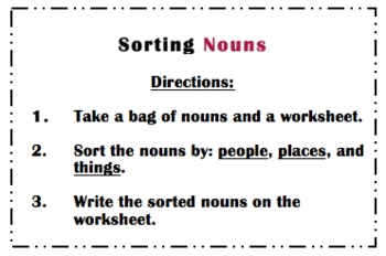 Literacy Center: Sorting Nouns, Verbs, and Adjectives