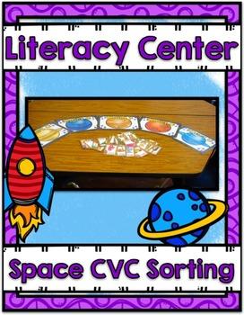 Literacy Center ~ Space CVC Sorting