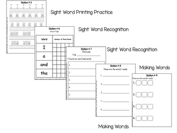 Literacy Center Station Worksheets for Center Booklets