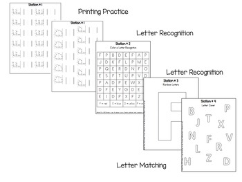 Literacy Center Station Worksheets for Center Booklets