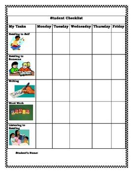 K-2 Literacy Center Student Activity Checklist