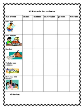 PK-2 Literacy Center Student Activity Checklist (Spanish)