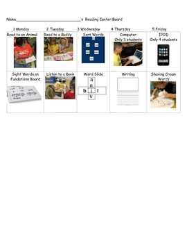 Literacy Center Student Cards