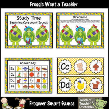 Literacy Center -- Study Time Beginning Consonant Sounds (Puzzles)