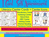Literacy Center Task Cards and Icons (Common Core Self Assessment+ Rubrics)