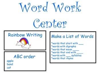 Literacy Center Task Posters