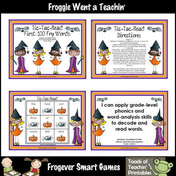 Literacy Center--Tic-Tac-Read First 100 Fry Words