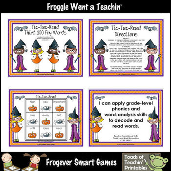 Literacy Center--Tic-Tac-Read Third 100 Fry Words