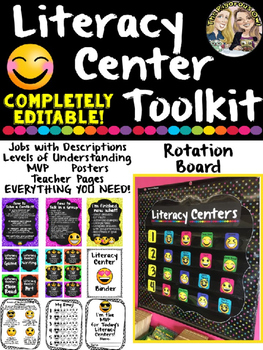 Literacy Center Toolkit: EDITABLE Rotation Board and MORE!