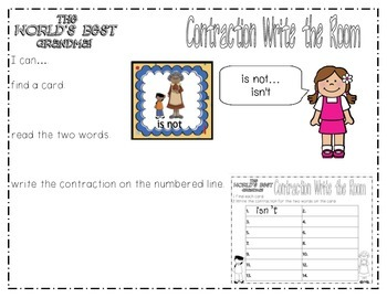 """Literacy Center Treasures Reading Series -Contractions """"Gram and Me"""""""