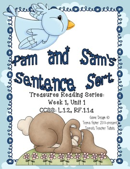 Literacy Center Treasures Reading Series Sentences Pam and Sam