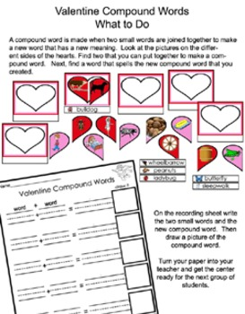 Literacy Center - Valentine Compound Words