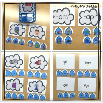 Literacy Center: Weather Short /a/ CVC Rhyming, Word Families & Word Building