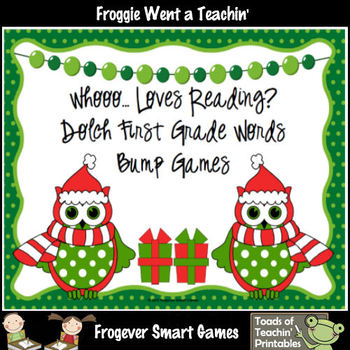 Literacy Center--Whooo... Loves Reading? 1st Grade Dolch Words Bump Games