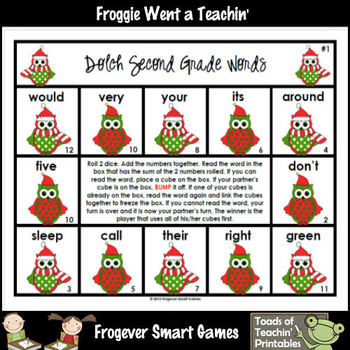 """Second Grade Dolch Words -- """"Whooo... Loves Reading?"""" Bump Games"""