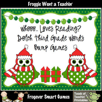 Literacy Center--Whooo... Loves Reading? 3rd Grade Dolch Words Bump Games