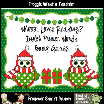 Literacy Center--Whooo... Loves Reading? Primer Dolch Words Bump Games
