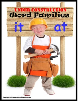 Literacy Center Word Families Construction Hats File Folder Games & Activities
