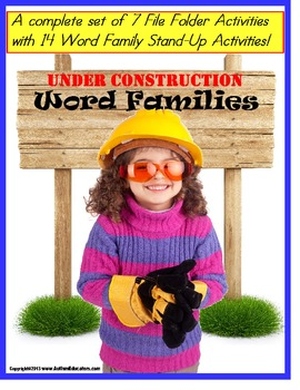 Literacy Center Word Families Construction Hats File Folde