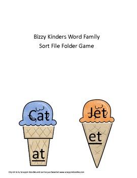 Literacy Center Word Family Sort File Folder Game