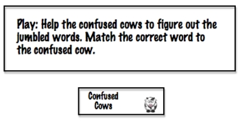 Literacy Center: Word Scramble Confused Cows File Folder Game