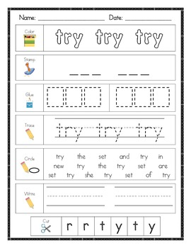 Literacy Center Word Work for Fry's Second 100 Sight Words