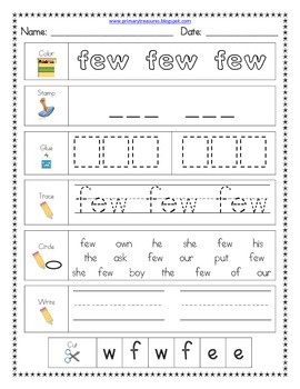 Literacy Center Word Work: Printables for Fry's Sight Words Set 10 {226-250}