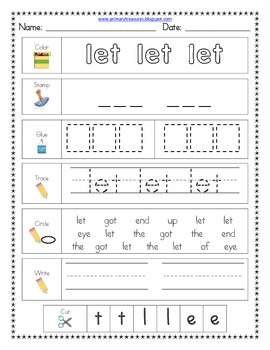 Literacy Center Word Work: Printables for Fry's Sight Words Set 12 {276-300}