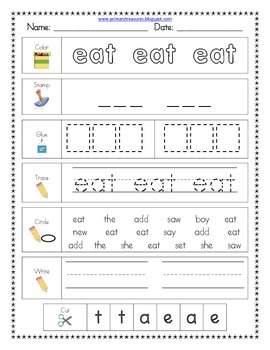 Literacy Center Word Work: Printables for Fry's Sight Word