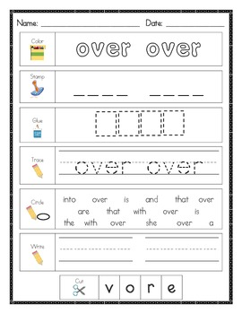 Literacy Center Word Work: Printables for Fry's Sight Words Set 5 {101-125}