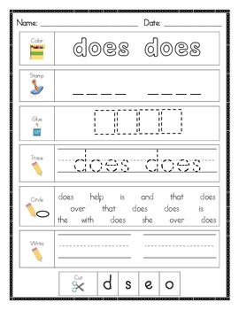 Literacy Center Word Work: Printables for Fry's Sight Words Set 7 {151-175}