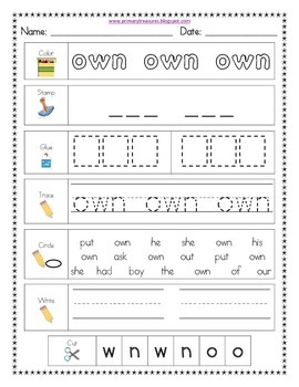 Literacy Center Word Work: Printables for Fry's Sight Words Set 9 {201-225}