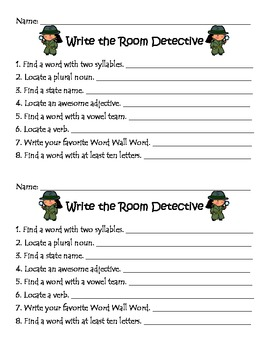 Literacy Center-Write the Room Detective