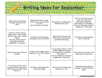 Yearlong Writing Center Prompts with Graphic Organizers