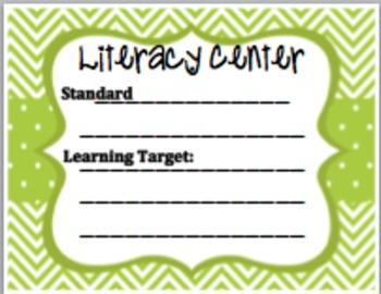 Literacy Center sign