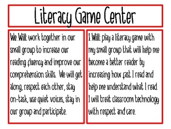 Literacy Center/Station Objective Posters