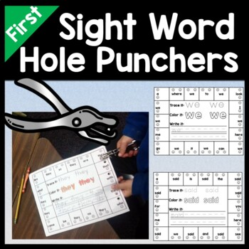 First Grade Sight Words with Hole Punchers {41 words}