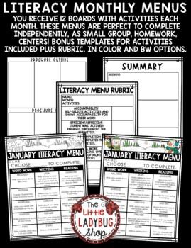 Literacy Centers Choice Boards - 2nd Grade, 3rd Grade & 4th Grade