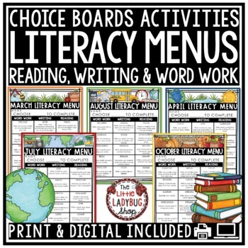 Literacy Centers Choice Boards - 3rd Grade, 4th Grade & 5th Grade
