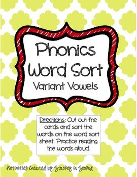 Literacy Centers 5-3 (Variant Vowels, Synonyms, Possessive Prounouns)