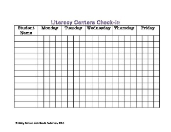 Literacy Centers Anchor Charts & Check-In Sheets