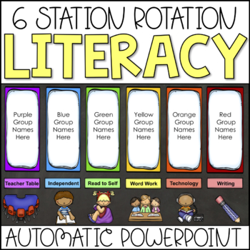 Literacy Centers- Automatic Station / Center Rotation PowerPoint (Rainbow Theme)