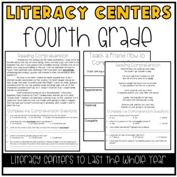 Literacy Centers for 4th Grade