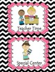 Literacy Centers Board Pink with Chevron
