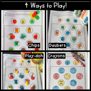 Literacy Centers Bundle Chip Match Activity