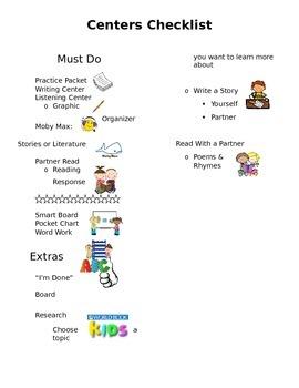 Literacy Centers Checklist