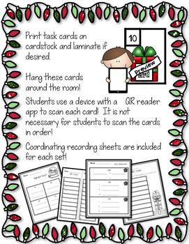 Literacy Centers - Christmas Themed QR Code Scavenger Hunt - Phonics Skills