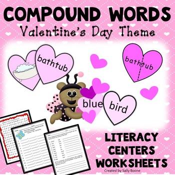 Literacy Centers Compound Words Valentine's Day Theme
